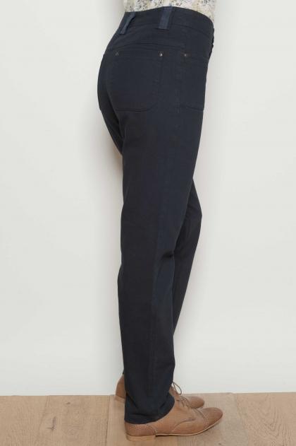 Pantalon droit en toile indigo