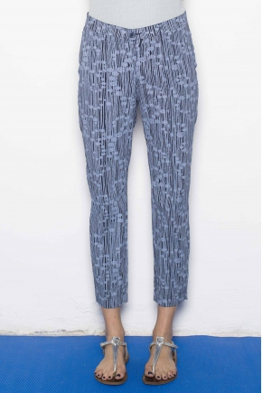 Trousers printed popelin stretch 96% cotton 4% elasthanne