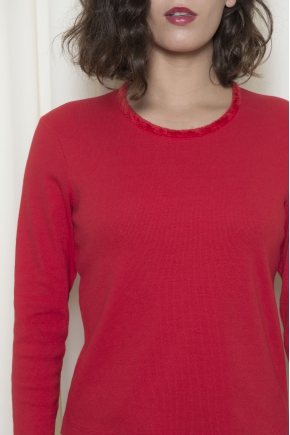 T-shirt stretch ribbed knit 96% cotton 4% elastane comb