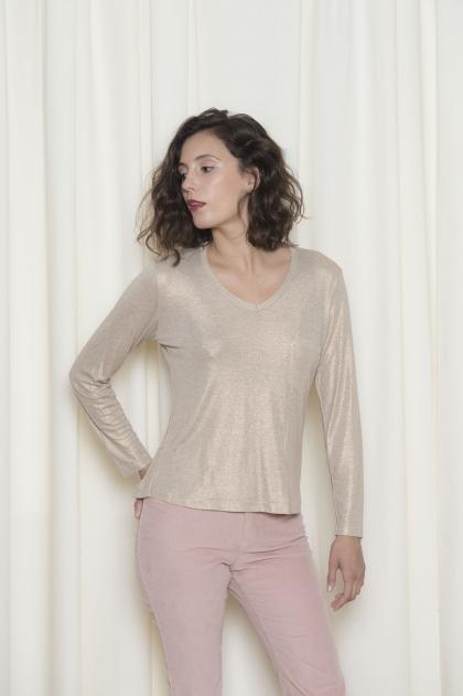 Tee-shirt femme jersey pailleté 96% viscose 4% élasthanne