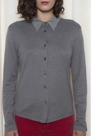 Ribbed jersey shirt 50% cotton and 50% polyamide
