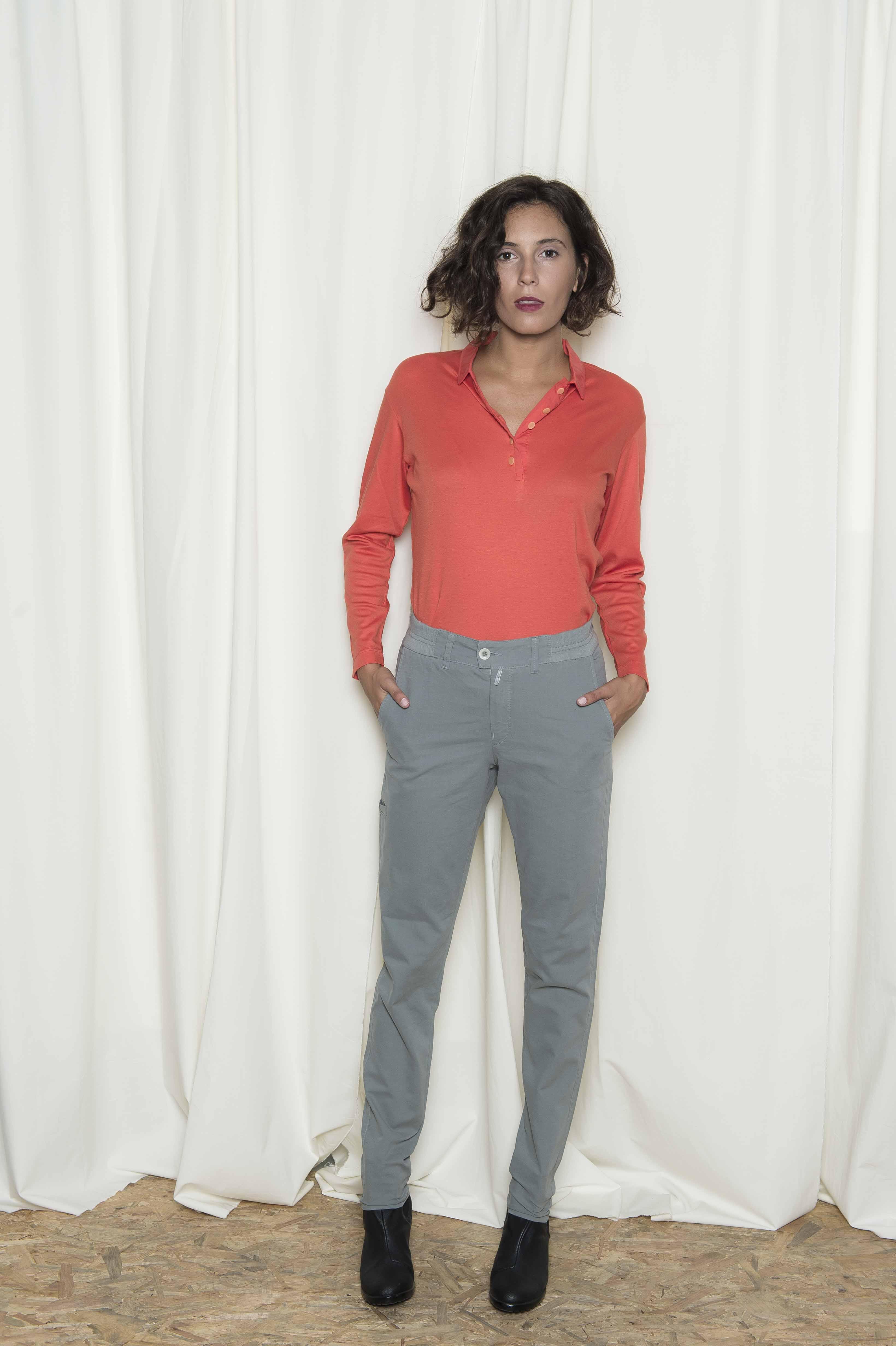 Pants in double canvas cotton 96% elastane 4%