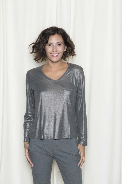 Tee-shirt femme jersey lamé 96% viscose 4% élasthanne