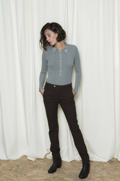 Woman stretch flannel pants 65% polyester 30% viscose 5% elastane