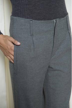 Pantalon taille haute flanelle 65% polyester 30% viscose et 5% élasthanne