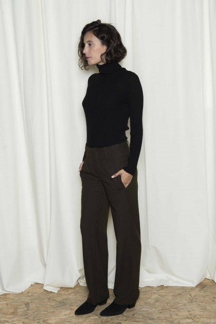 Flannel pants high waist 65% polyester 30% viscose and 5% elastane