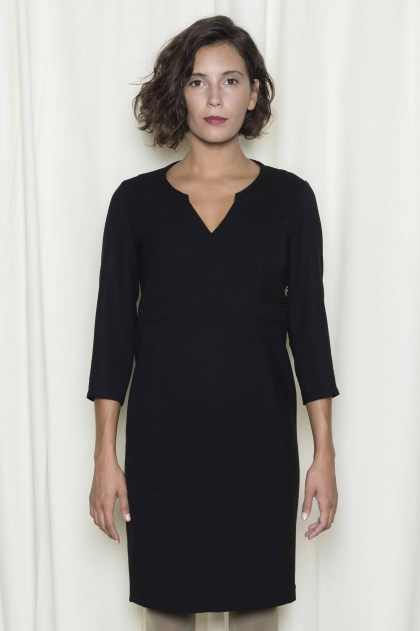Robe double toile crêpe stretch 62% polyester 34% viscose 4% élasthanne