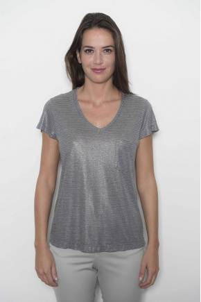 "Tee shirt rayures ""imprimées et laminées"" 50% viscose 50% polyester"