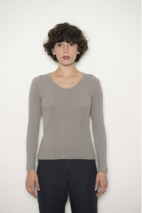 Long sleeve tee-shirt in mesh Richelieu 85% Viscose 15% Silk