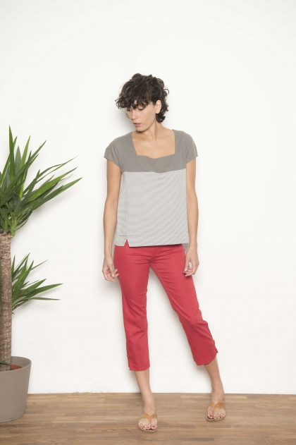 "Trousers "" satin stretch"" 66% cotton 31% polyamide 3% elasthanne"