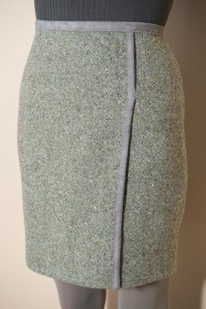 Jupe tweed 80% laine 19% polyamide 1% élasthanne