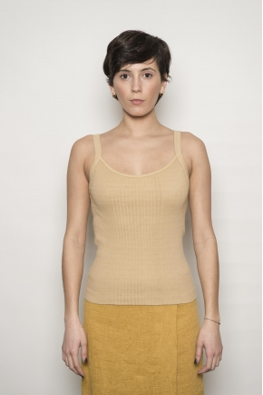 Richelieu ribbed knit tank top 100% cotton