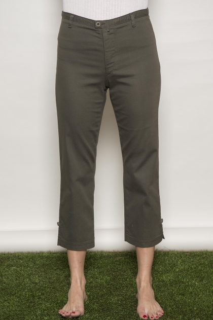 Stretch satin trousers 66% cotton 31% polyamide 3% elastane