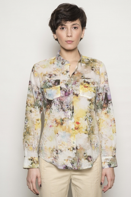 100% cotton printed voile shirt