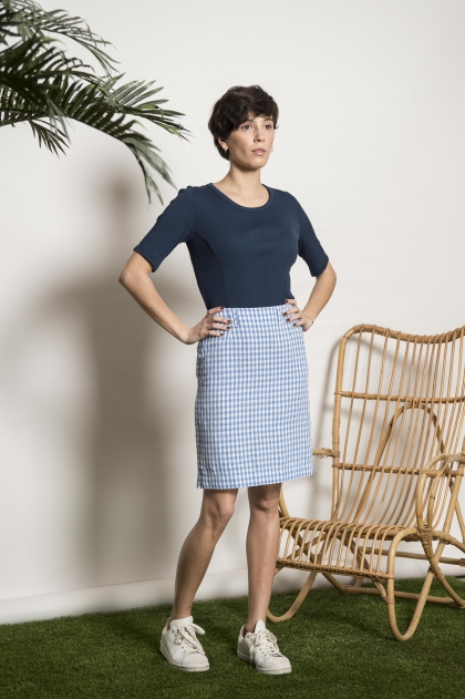 "Canvas skirt ""vichy"" 50% linen 50% viscose"