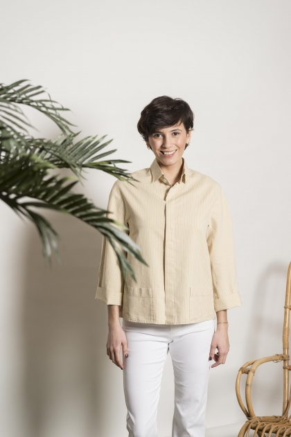 Veste rayé 72% coton 28%soie