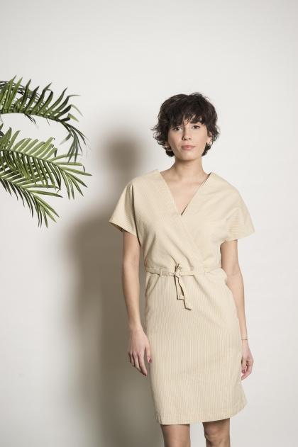 Robe rayé 72% coton 28%soie