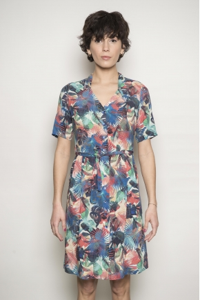 Printed voile dress 100% viscose