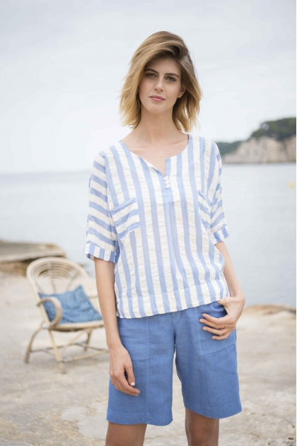 Sailor veil waffled striped 64% Lyocell 25% cotton 11% linen