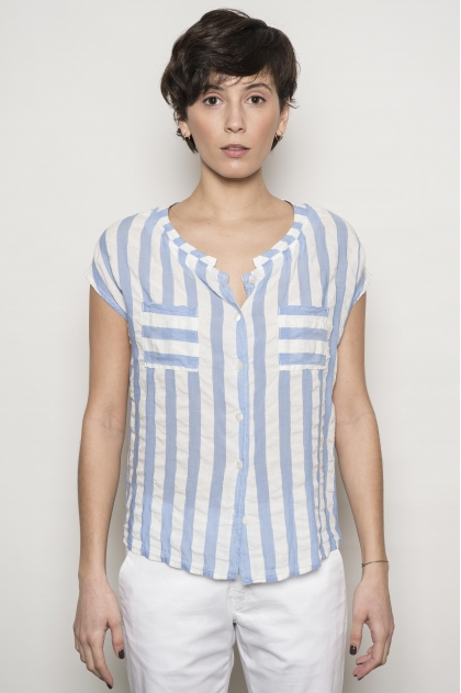 64% Lyocell 25% Cotton 11% Linen Striped Embroidered Blouse