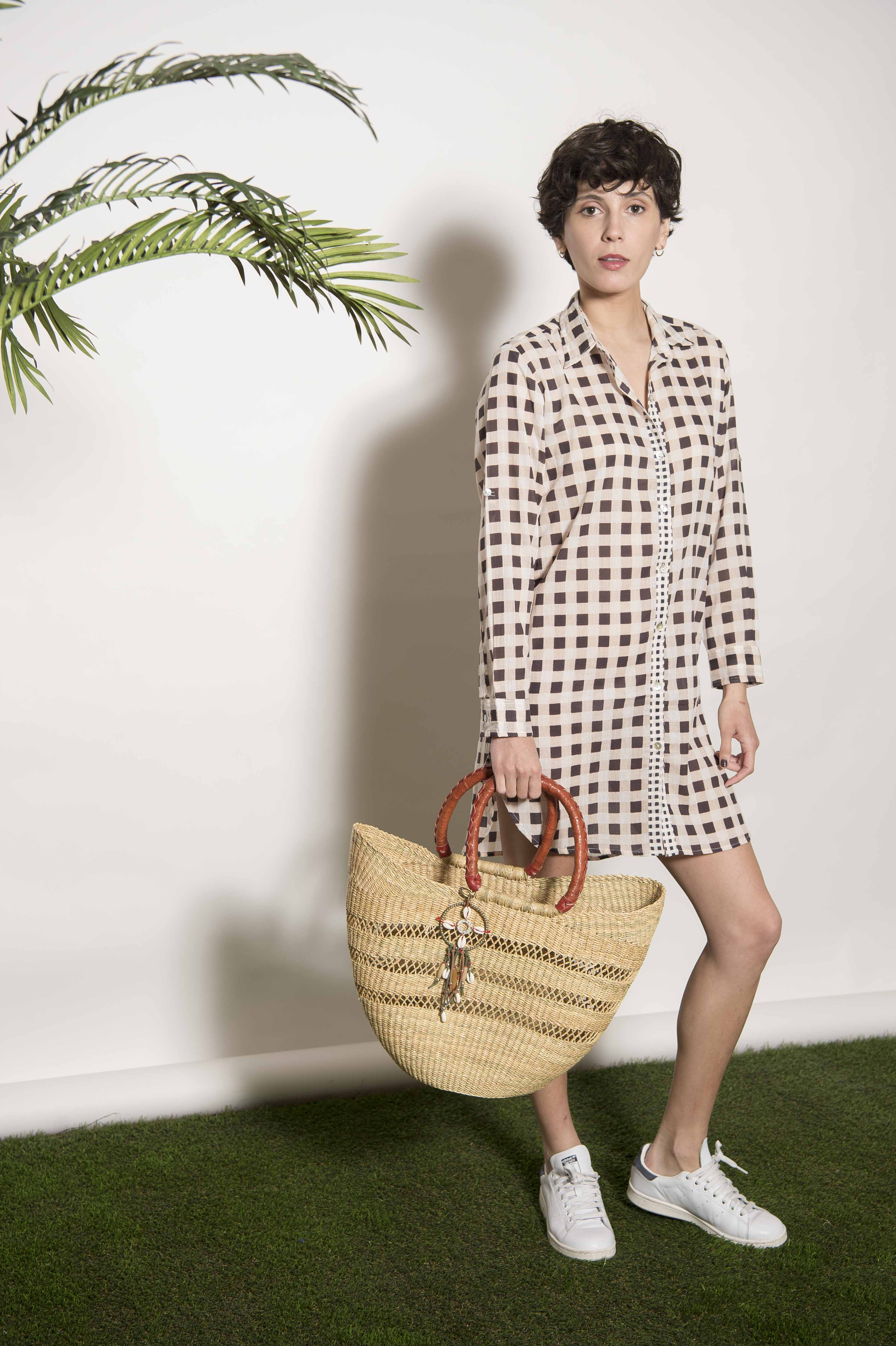 100% palm and leather basket