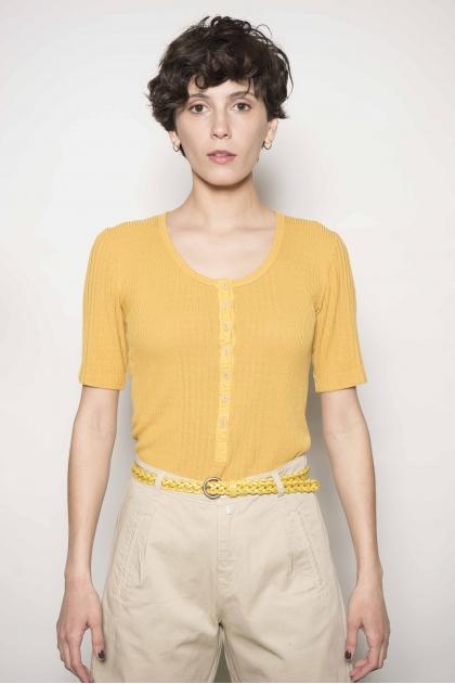 Tee-shirt en maille richelieu 85 % viscose 15 % soie