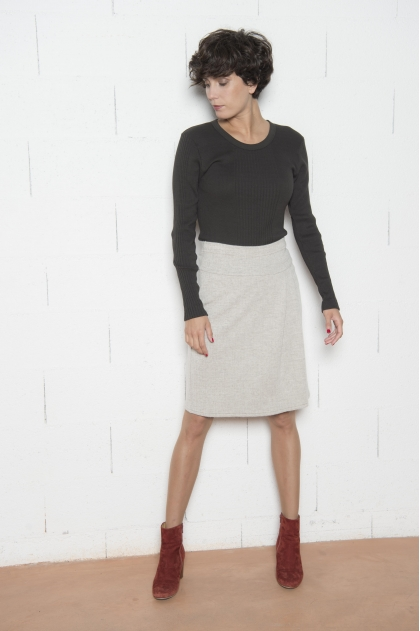Jupe portefeuille Jacquard 49% LAINE 30% VISCOSE 18% POLYESTER 3% CACHEMIRE