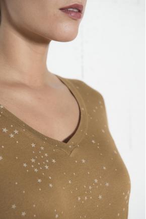 96% VISCOSE 4% ELASTHANNE Star Print Tee Shirt