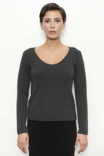 Pull V Maille « point de riz »  avec garniture lurex encolure et bas de manches 100% LAINE MERINOS EXTRAFINE