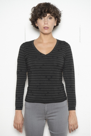 95% VISCOSE 5% ELASTHANNE stretch striped Jersey T-shirt
