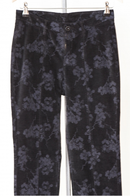 Printed extensible smooth velvet trousers