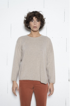 Asymmetrical sweater knit stitch jersey 100% cashmere