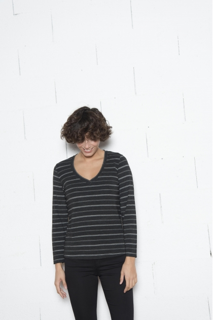 Fancy stretch stripe Jersey T-shirt 96% VISCOSE 4% elastane