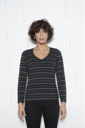 Fancy stretch stripe Jersey T-shirt 96% VISCOSE 4% elastane