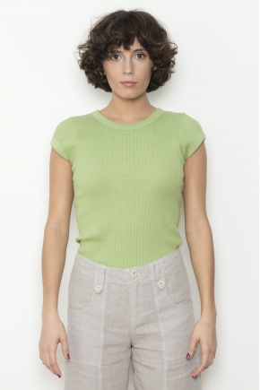 T-shirt in 100% cotton richelieu knit