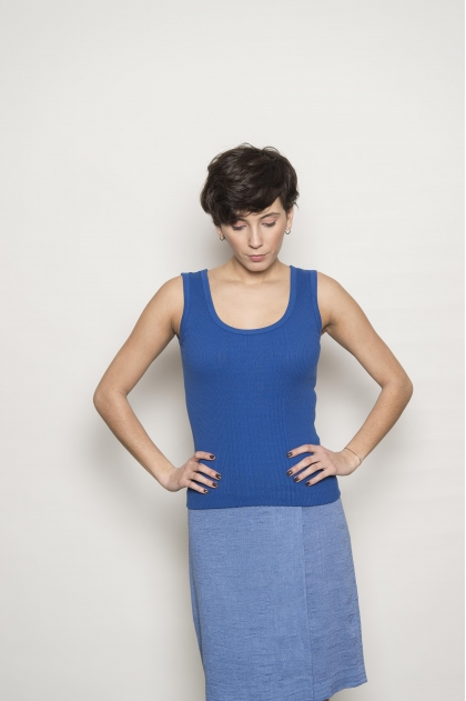 Women's tank top in 100% cotton richelieu knit