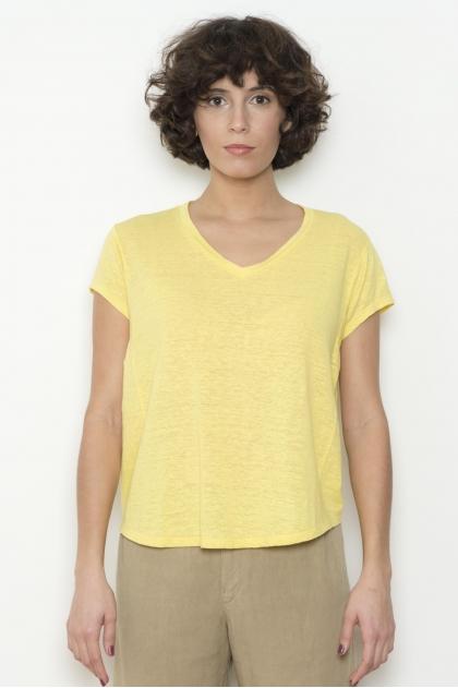 Tee shirt  Jersey de lin 92% LIN 8% ÉLASTHANNE