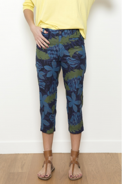 print 100% linen cropped trousers