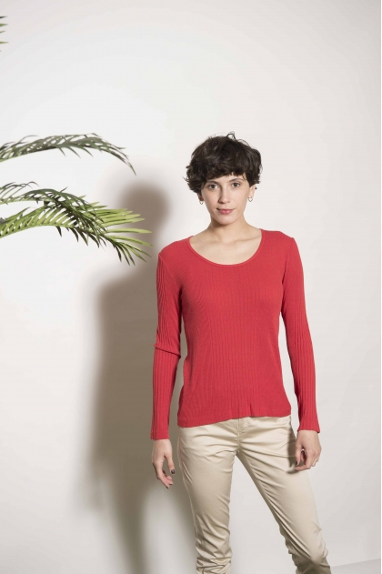 Long-sleeved Richelieu 85% Viscose 15% Silk T-shirt