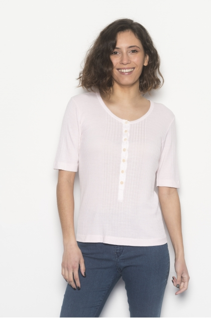 """Richelieu"" knit t-shirt 85% viscose 15% silk"
