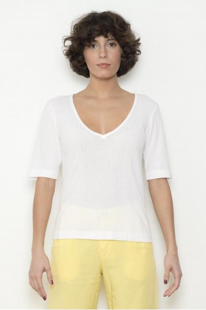 Tee shirt côte richelieu 85% VISCOSE 15% SOIE