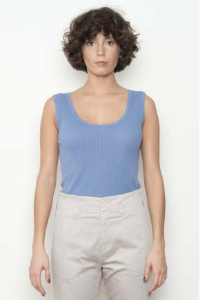 """Richelieu"" rib knit tank top 85% viscose 15% silk"