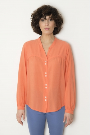 Crepe veil blouse 50% cotton 40% modal 10% wool