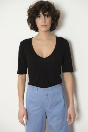 Tee-shirt côte richelieu 85% viscose 15% soie