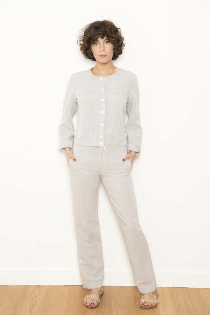 Straight trousers 55% VISCOSE 45% LINEN