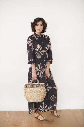 Palm and leather basket