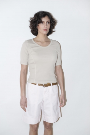 Ribbed knit t-shirt 100% COTTON