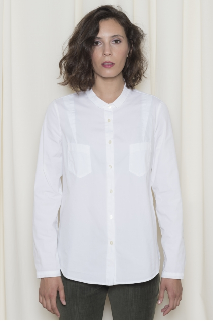 Chemise popeline stretch 78% coton 18% polyamide 4% élasthanne
