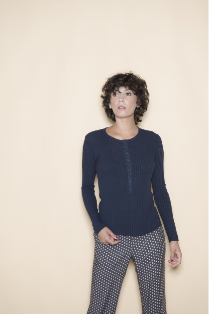 T-shirt with long sleeves in ribbed Richelieu 85% Viscose 15% Silk