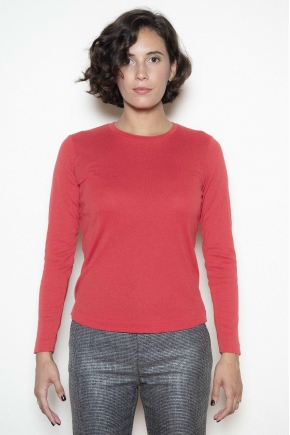 Tee-shirt maille côte 1/1 50% coton 50% polyamide